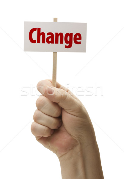 Change Sign In Fist On White Stock photo © feverpitch