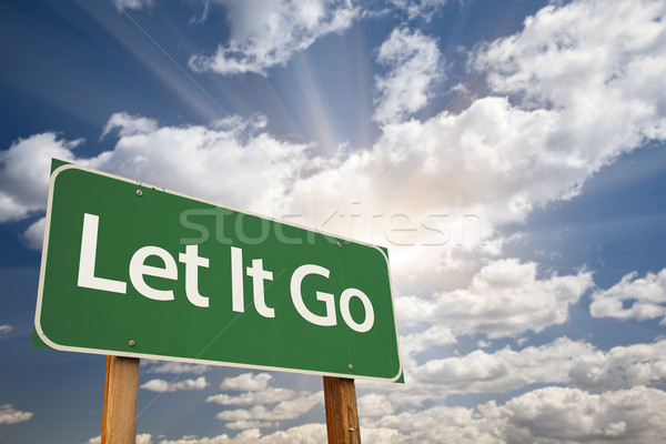 Stock photo: Let It Go Green Road Sign
