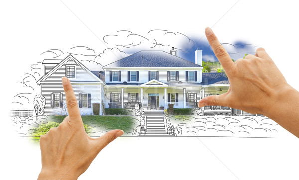 Hands Framing House Drawing and Photo on White Stock photo © feverpitch