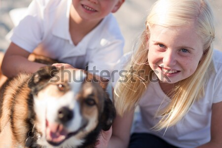 Cute Girl Playing with Her Dog Stock photo © feverpitch