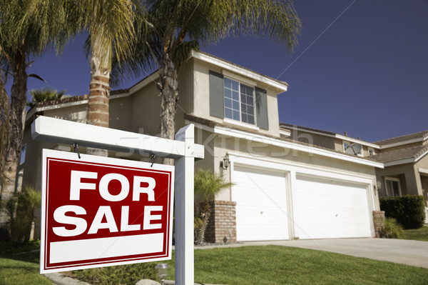 Red For Sale Real Estate Sign and House Stock photo © feverpitch