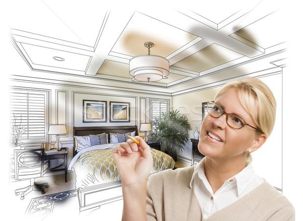 ストックフォト: 女性 · 鉛筆 · ベッド · デザイン · 図面 · 写真