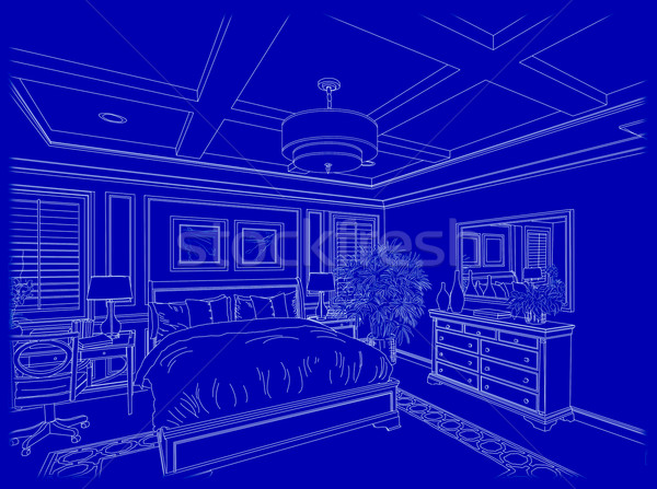Blanche coutume chambre design dessin bleu Photo stock © feverpitch