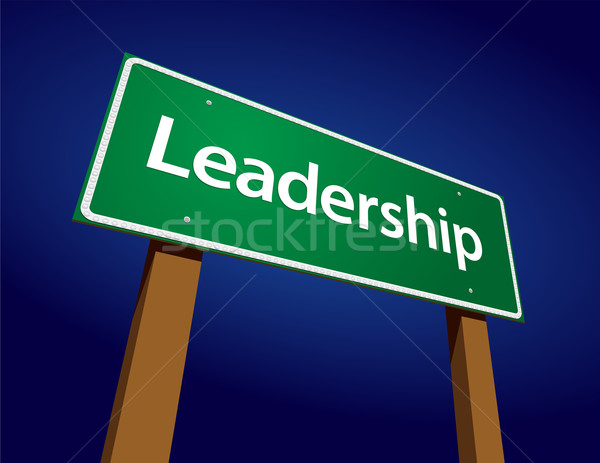 Leadership Green Road Sign Illustration Stock photo © feverpitch