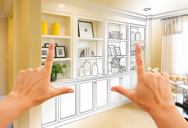 Hands Framing Custom Built-in Shelves and Cabinets Design Drawin Stock photo © feverpitch