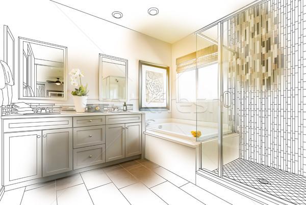 Custom Master Bathroom Design Drawing With Brush Stroke Revealin Stock photo © feverpitch