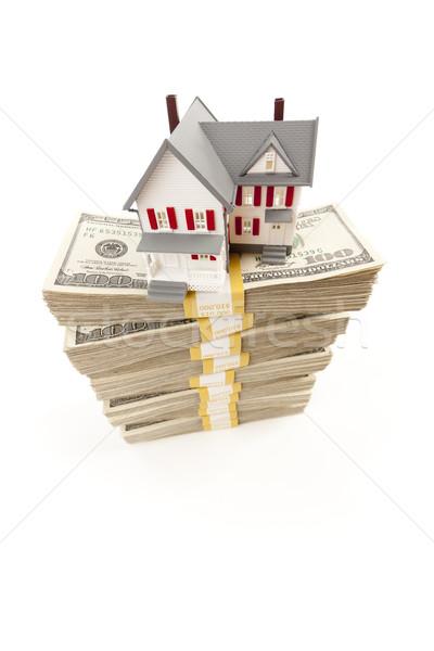 Stockfoto: Klein · huis · honderd · geïsoleerd · witte