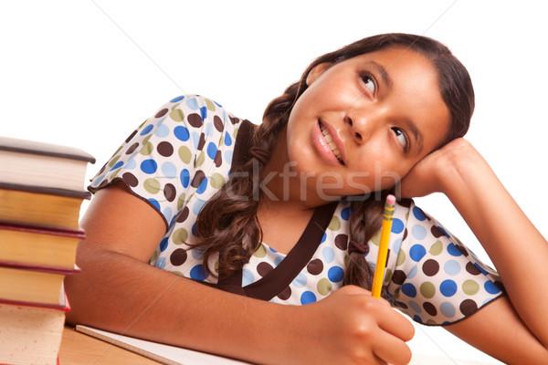 Csinos spanyol lány tanul álmodozás izolált Stock fotó © feverpitch