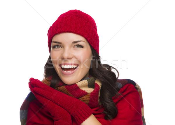Foto d'archivio: Eccitato · donna · indossare · inverno · Hat
