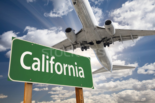 Foto stock: Califórnia · verde · placa · sinalizadora · avião · acima · dramático