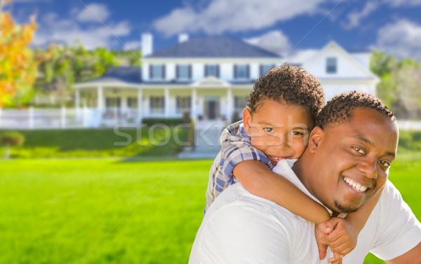 混血 父から息子 家 幸せ アフリカ系アメリカ人 ストックフォト © feverpitch