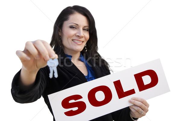 Foto stock: Hispanos · mujer · vendido · signo · claves