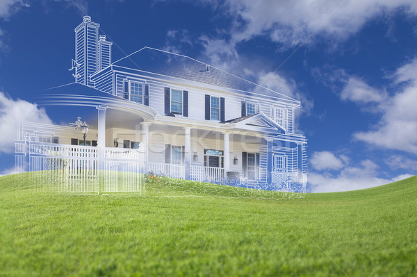 Beautiful Custom House Drawing and Ghosted House Above Grass Stock photo © feverpitch