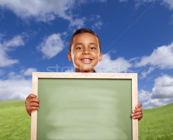 ストックフォト: 幸せ · ヒスパニック · 少年 · 草地 · チョーク