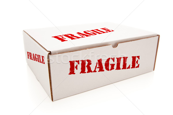 White Box with Fragile on Sides Isolated Stock photo © feverpitch