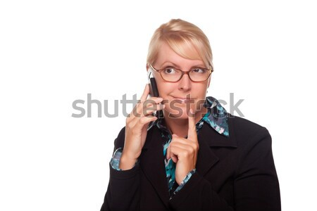 Intrigued Blonde Woman Using Phone Stock photo © feverpitch