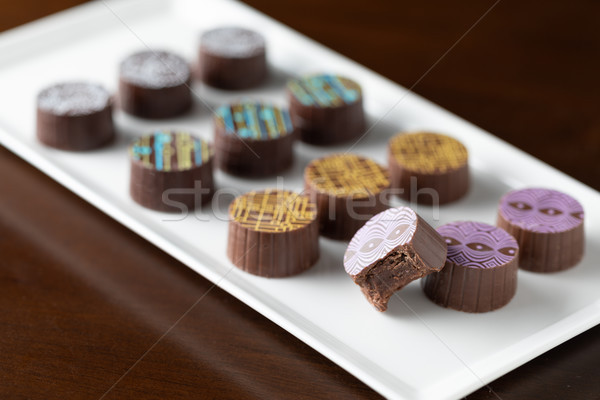 Stock photo: Artisan Fine Chocolate Candy On Serving Dish