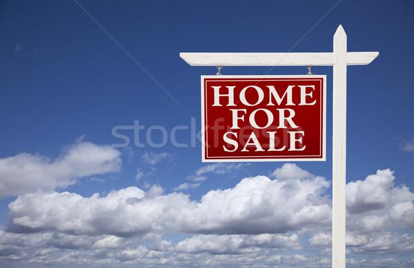 Stock fotó: Piros · otthon · vásár · ingatlan · felirat · felhők