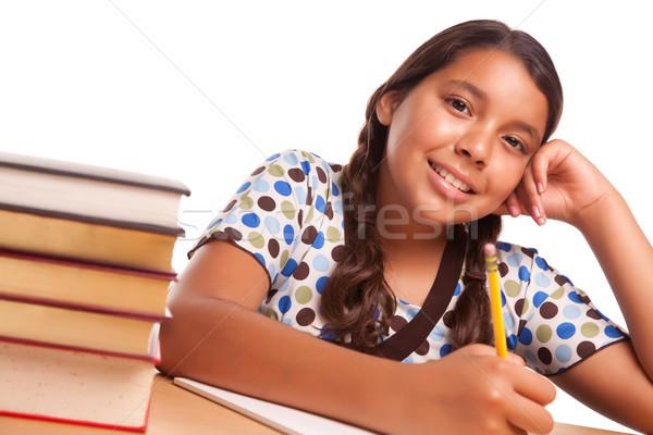 Pretty Smiling Hispanic Girl Studying Stock photo © feverpitch