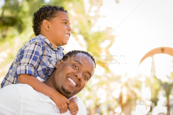 Zdjęcia stock: Syn · ojca · gry · na · barana · szczęśliwy · parku