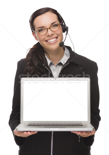 Stock photo: Mixed Race Businesswoman Wearing Headset Holds Computer With Bla