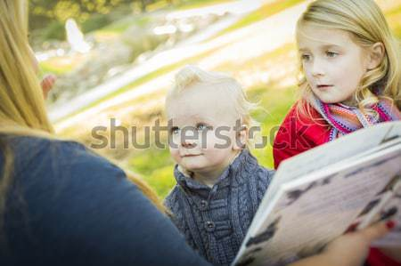 Cute Brother and Sister Pose In Rustic Cabin Stock photo © feverpitch