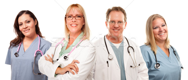 Set of Smiling Male and Female Doctors or Nurses Stock photo © feverpitch