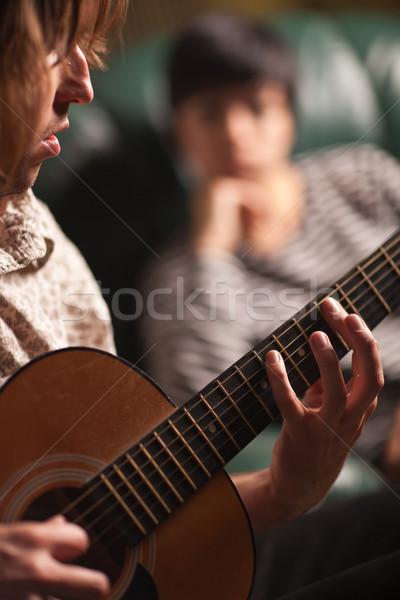 ストックフォト: 小さな · ミュージシャン · 友達 · 光 · 金属