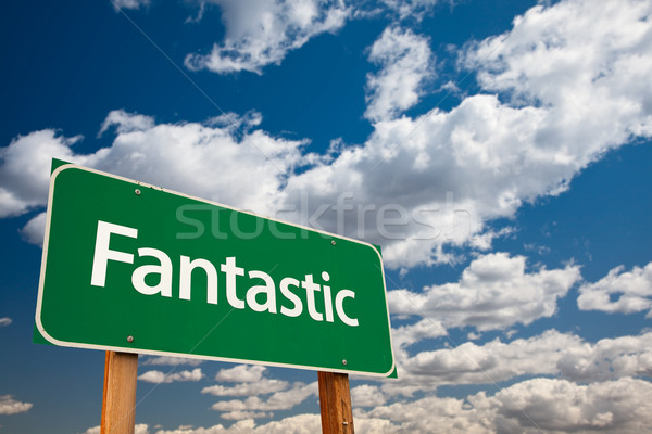 Fantastic Green Road Sign with Sky Stock photo © feverpitch