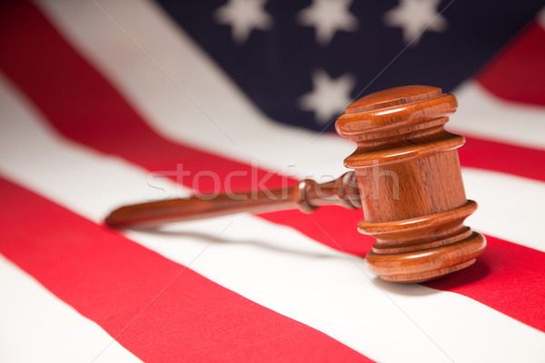 Marteau drapeau américain justice étoiles bleu Photo stock © feverpitch