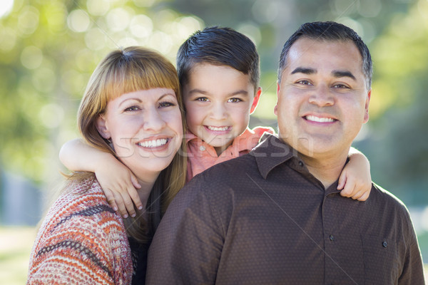 Young Mixed Race Family Portrait Outdoors Stock photo © feverpitch