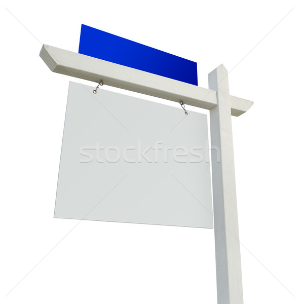 Blank White and Blue Real Estate Sign on White Stock photo © feverpitch