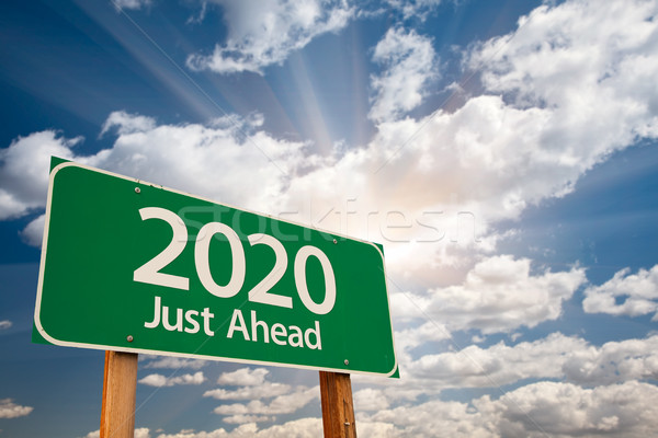 2020 Green Road Sign Over Clouds Stock photo © feverpitch