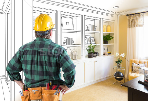 Contractor Facing Custom Built-in Shelves and Cabinets Design Dr Stock photo © feverpitch