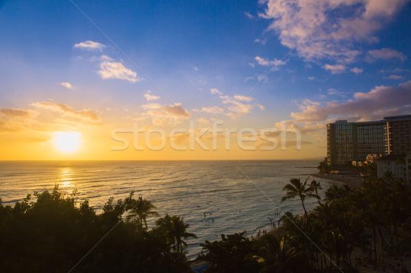 красивой закат waikiki пляж Гавайи небе Сток-фото © feverpitch