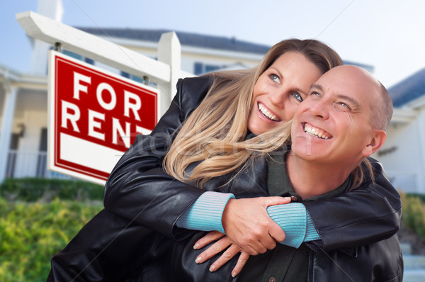 Feliz casal alugar imóveis assinar Foto stock © feverpitch