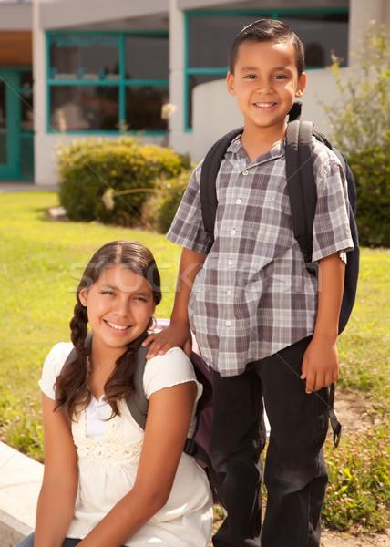 Foto d'archivio: Cute · ispanico · fratello · sorella · pronto · scuola