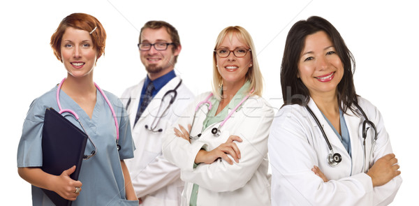 Group of Doctors or Nurses on a White Background Stock photo © feverpitch