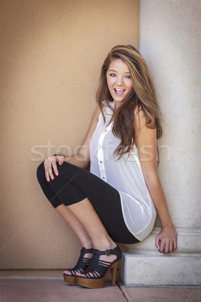 Atraente menina retrato ao ar livre mulher Foto stock © feverpitch