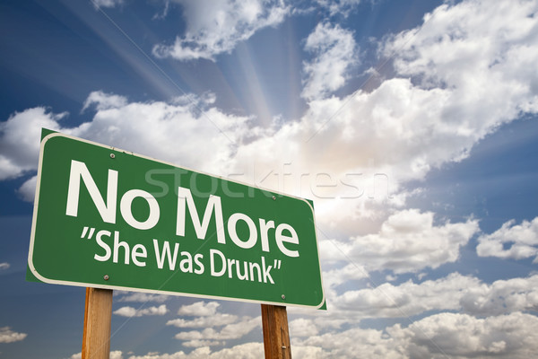 No More - She Was Drunk Green Road Sign Stock photo © feverpitch