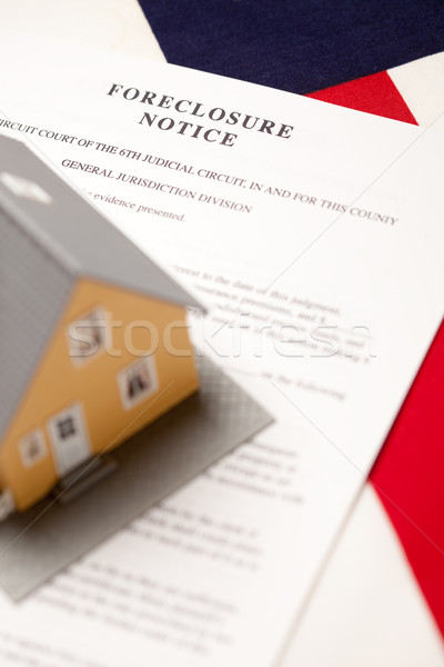 Foreclosure Notice, House and Flag Stock photo © feverpitch