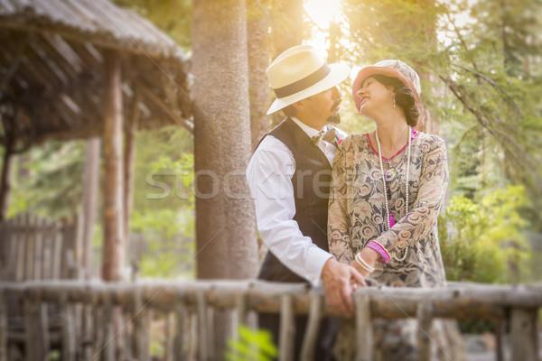 1920 romântico casal ponte atraente Foto stock © feverpitch