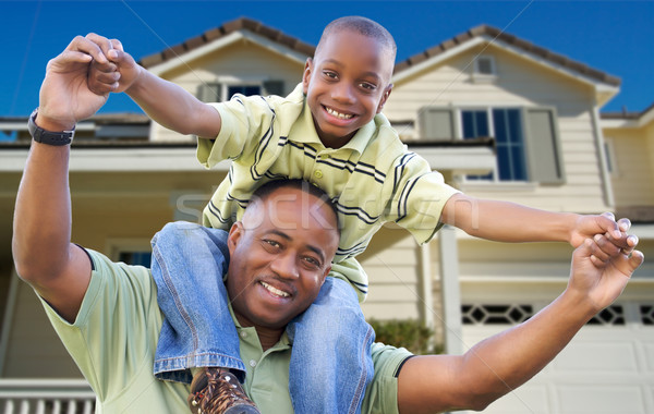 Stockfoto: Vader · zoon · home · afro-amerikaanse · familie