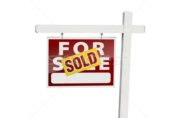 Red Sold For Sale Real Estate Sign on White Stock photo © feverpitch