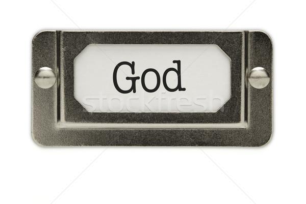 Zdjęcia stock: Boga · pliku · szuflada · etykiety · odizolowany · biały