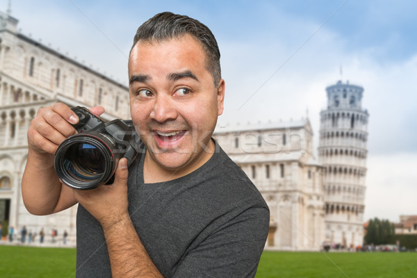 Hispanic Male Photographer With Camera at Leaning Tower of Pisa Stock photo © feverpitch