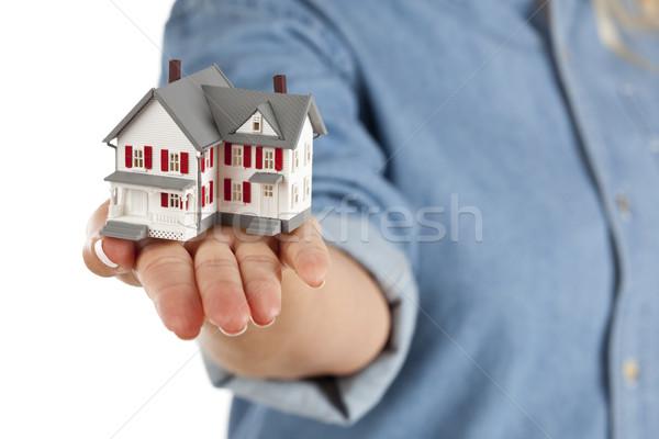 Foto stock: Casa · feminino · mão · branco · modelo · isolado