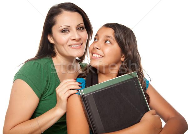 Büszke spanyol anya lánygyermek kész iskola Stock fotó © feverpitch