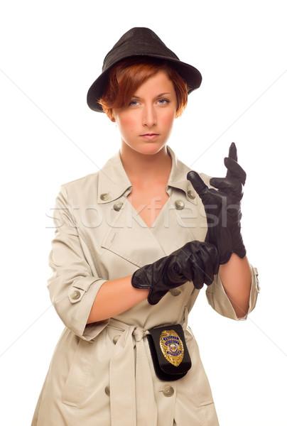 женщины детектив Знак перчатки окоп пальто Сток-фото © feverpitch