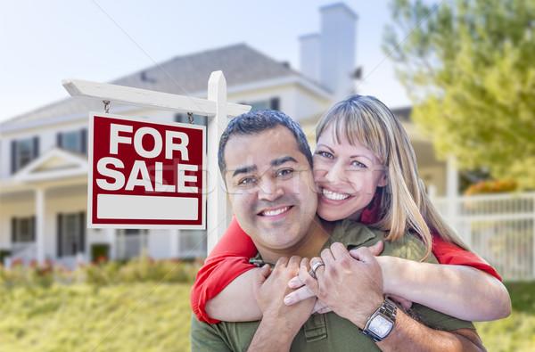 çift satış imzalamak ev mutlu Stok fotoğraf © feverpitch